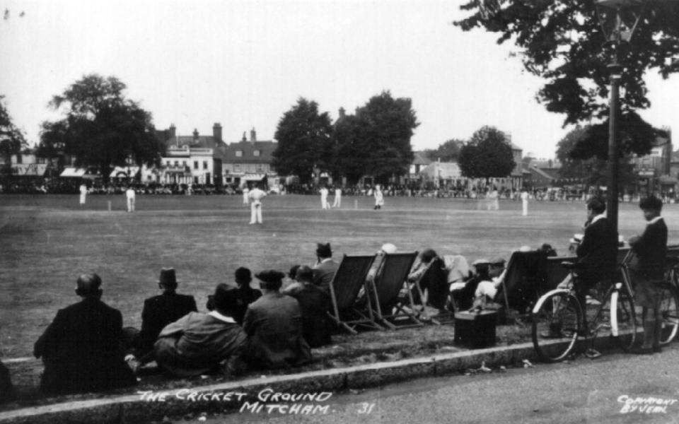 Cricket on the Green, Mitcham, 1931 Postcard