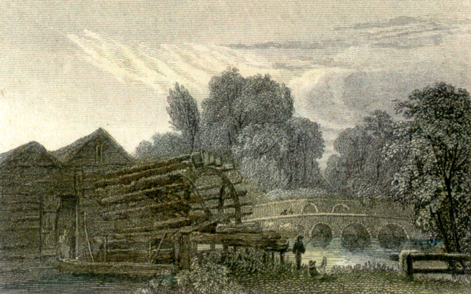 Hand-tinted engraving of Mitcham Bridge from Glover's Snuff Mill c.1800