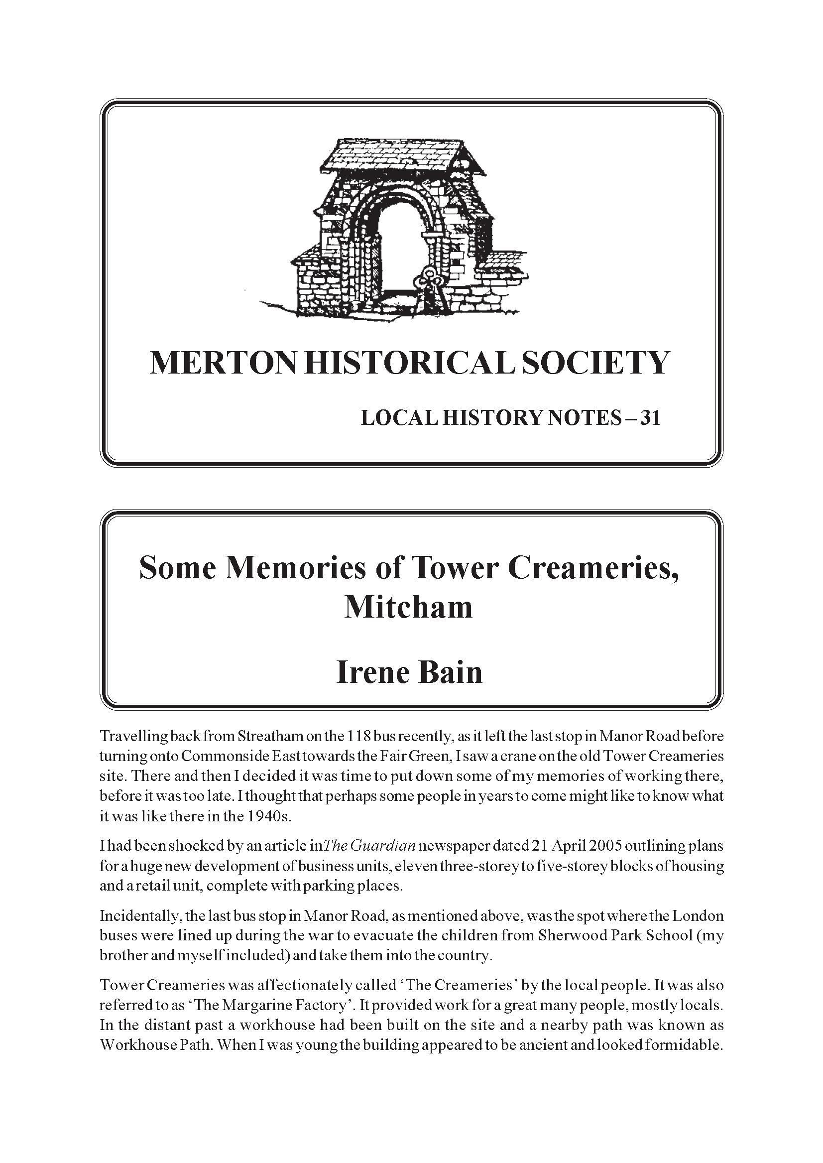 Some Memories Of Tower Creameries Mitcham Merton Historical Society