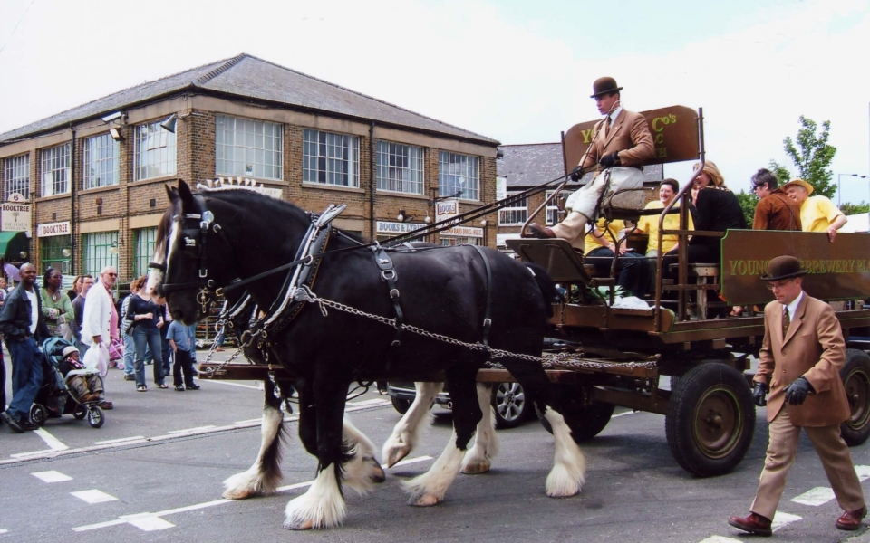 Wandle Valley Festival - 16th Birthday of Merton Abbey Mills, Merton SW19. The Mayor of Merton arriving on the cart.