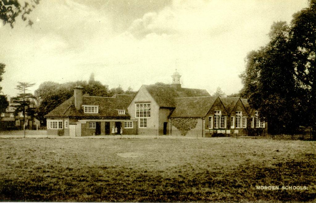 Morden Schools (now Morden Primary). Undated sepia postcard by Tuck.