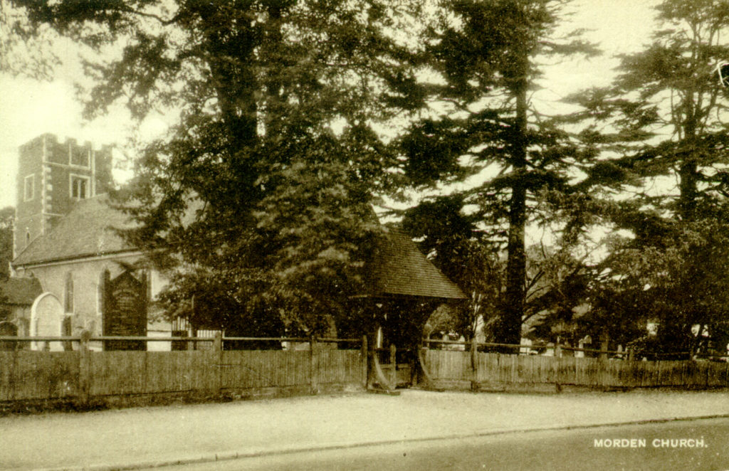 St Lawrence Church, Morden. Undated sepia postcard by Tuck.