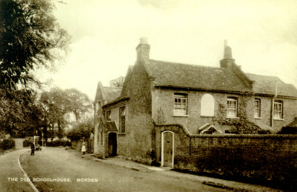 The Old Schoolhouse (now the Parish Hall), Morden. Undated sepia postcard by Tuck.