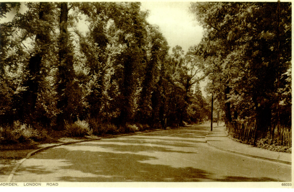 Morden, London Road. Undated sepia postcard by Photochrom.