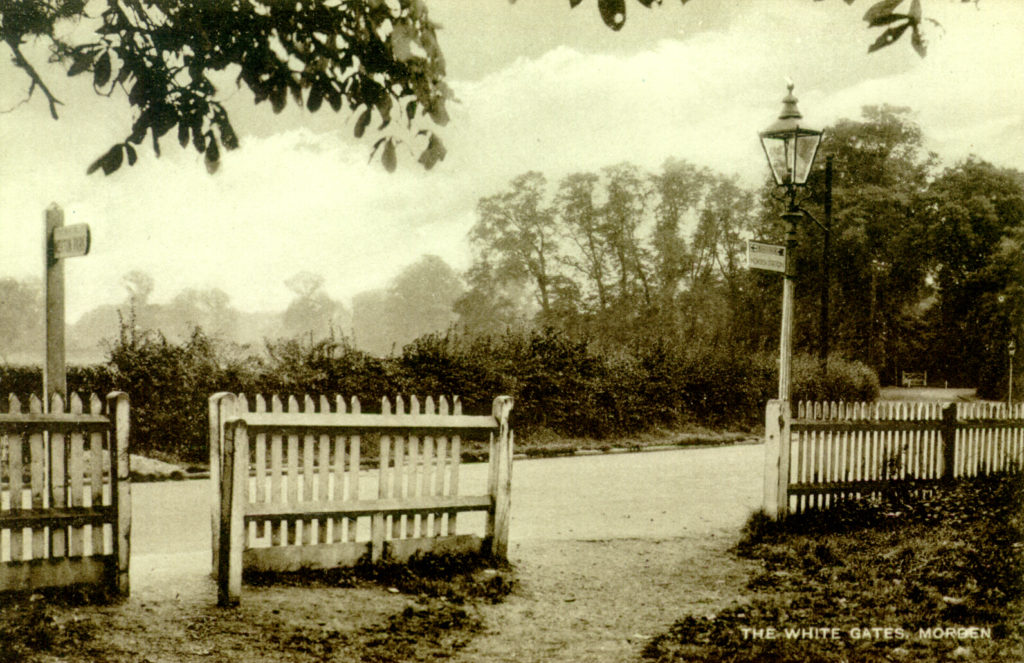 'The White Gate, Morden'. Undated sepia postcard by Tuck.