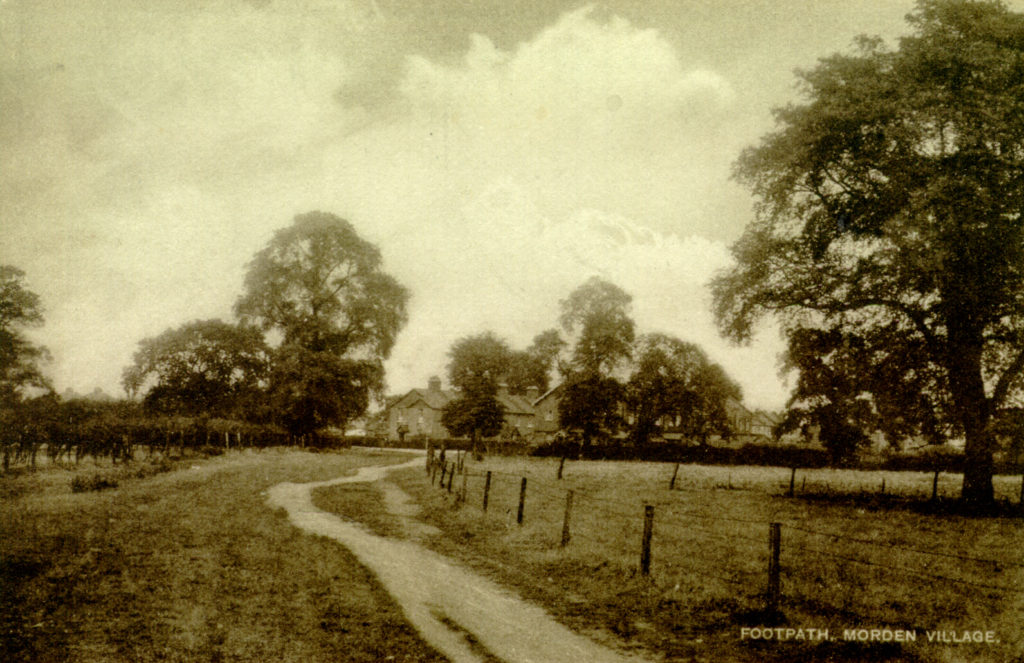 'Footpath, Morden Village'. Undated sepia postcard by Tuck.
