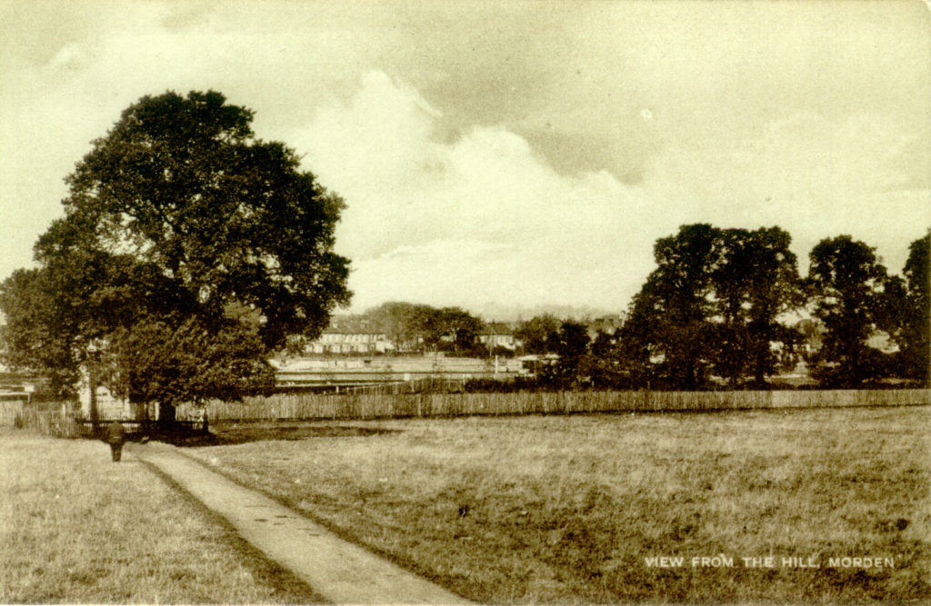 'View from the Hill', Morden. 'Undated sepia postcard by Tuck.