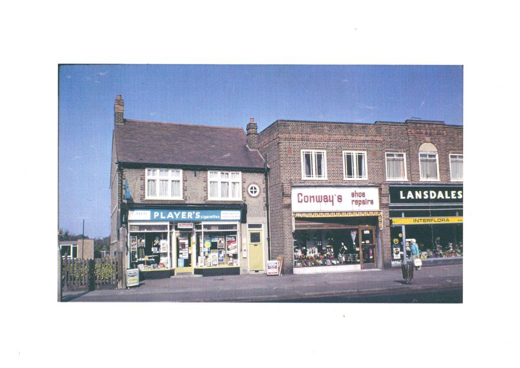 Shops in Crown Lane, Morden (WJR) 1972