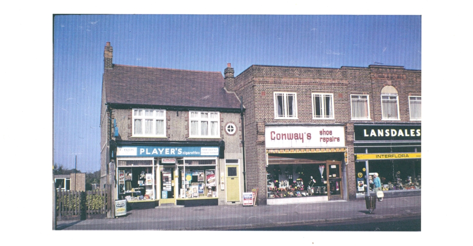 Shops in Crown Lane, Morden (WJR) 1972