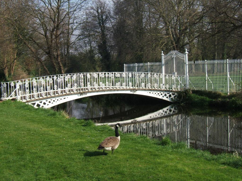 Footbridge over River Wandle, rear of Morden Hall, Morden Hall Park