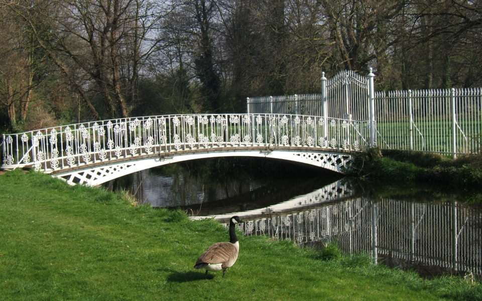 Footbridge over River Wandle, rear of Morden Hall, Morden Hall Park