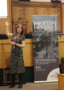 Launch of the Merton Memories project, Merton Council Chamber, Civic Centre, Crown House, London Road, Morden SM4. Sarah Gould, Heritage and Local Studies Manager. The project involved the digitisation of the Library's 10,000 heritage photos, and creating a new website to make them publicly accessible.