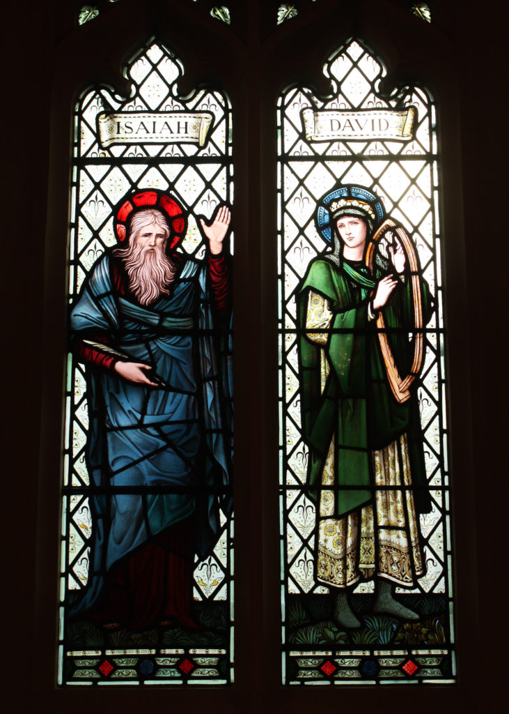 David and Isaiah, two windows as part of a memorial to John Innes (1829-1904), Church of St Mary the Virgin, Church Path, Merton Park SW19. From designs by Edward Byrne-Jones, made at the Morris & Co. works in Merton, 1907.