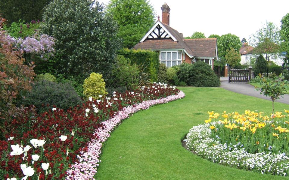 Flower beds and entrance lodge, John Innes Park, Mostyn Road, Merton Park SW20