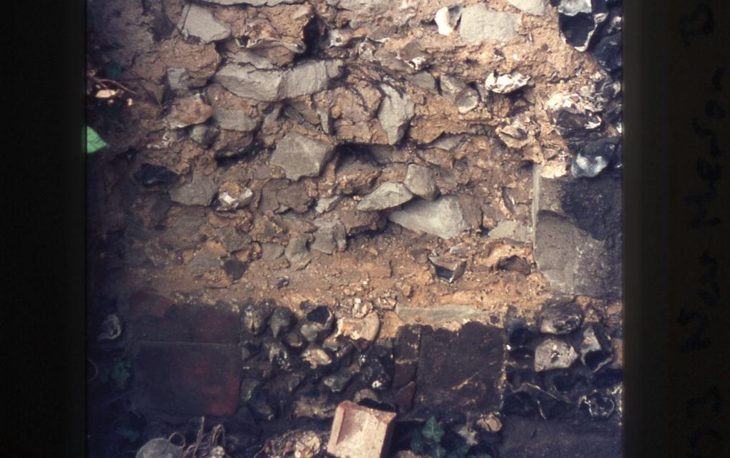 Close up of Priory Precinct Wall near Merton Board Mills, off Merton High Street, Merton, London SW 19.