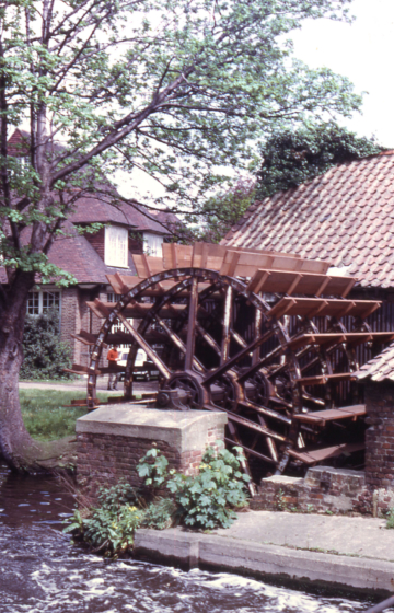 Waterwheel at Liberty & Co, Station Road, Merton, London SW 19. Now (2009) part of Merton Abbey Mills.