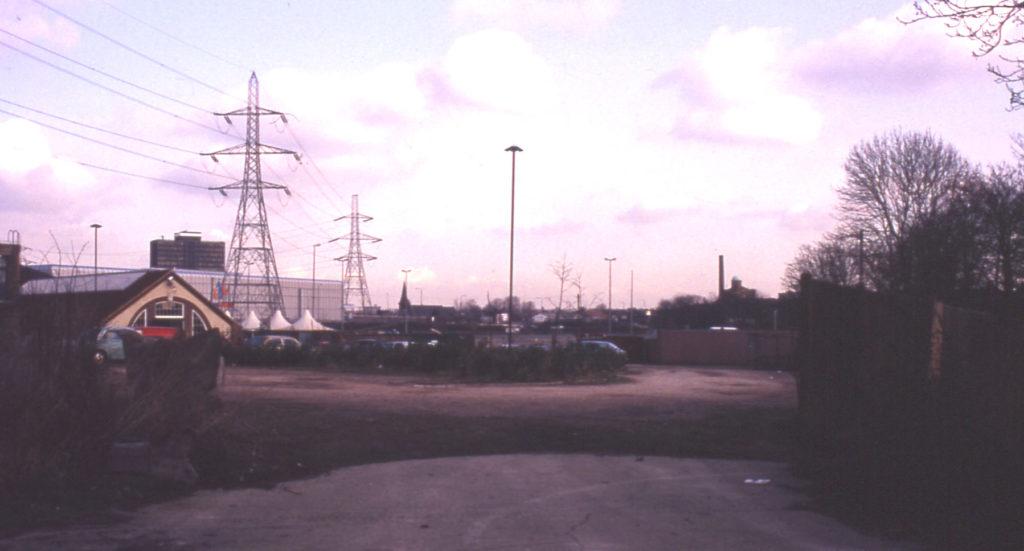 Car park at Merton Abbey Mills, Merton, London SW 19. Looking east. Site of Bennett