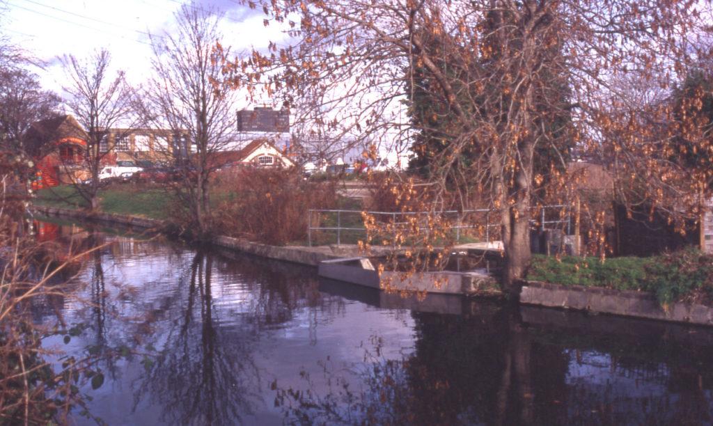 River Wandle above Abbey Mills, Merton, London SW 19. Start of Bennett
