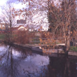River Wandle above Abbey Mills, Merton, London SW 19. Start of Bennett