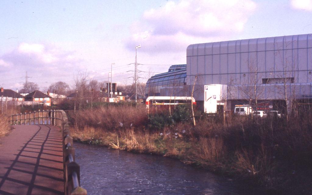 River Wandle and Sainsbury's Savacentre, Off Merton High Street, Merton, London SW 19.