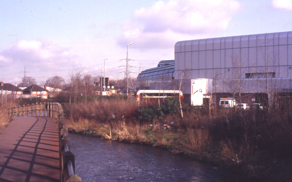 River Wandle and Sainsbury's Savacentre, Off Merton High Street, Merton, London SW 19.