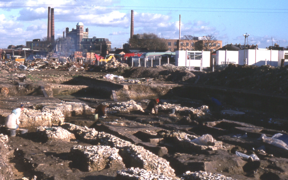 Excavation of the Chapter House of Merton Priory, Merton, London SW 19. Looking east.