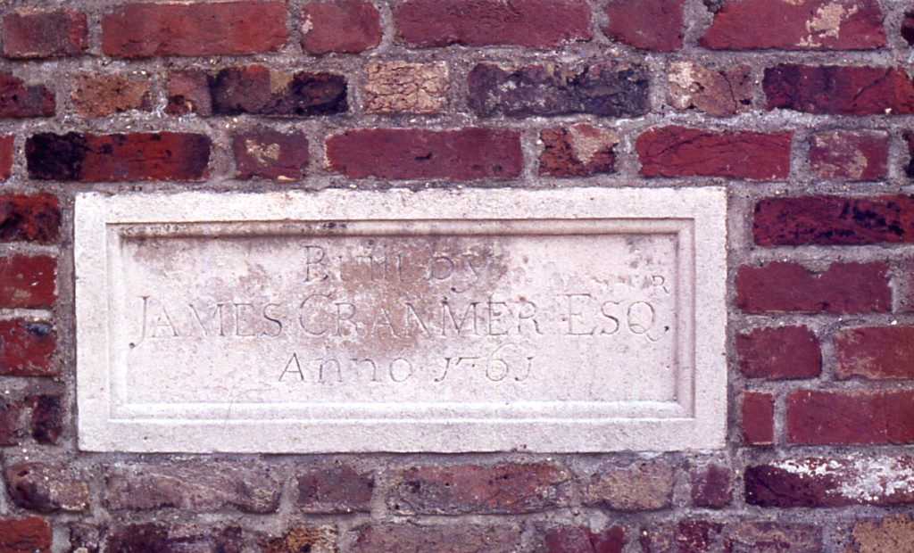 The Canons, Madeira Road, Mitcham, Surrey CR4. Stone in boundary wall. built 1761 for James Cranmer. squire of Mitcham. who inherited the estate in 1752.