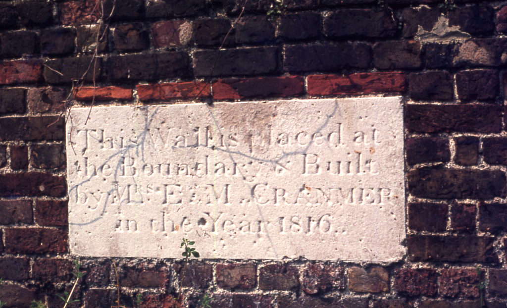 The Canons, The Canons, Madeira Road, Mitcham, Surrey CR4. Stone in boundary wall. placed in 1816 by Esther Cranmer. James Cranmer