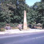 The Obelisk, Cricket Green, Mitcham, Surrey CR4. Erected by the Rev. Richard Cramer. who lived at the Canons until 1824. when he became vicar of Mitcham.