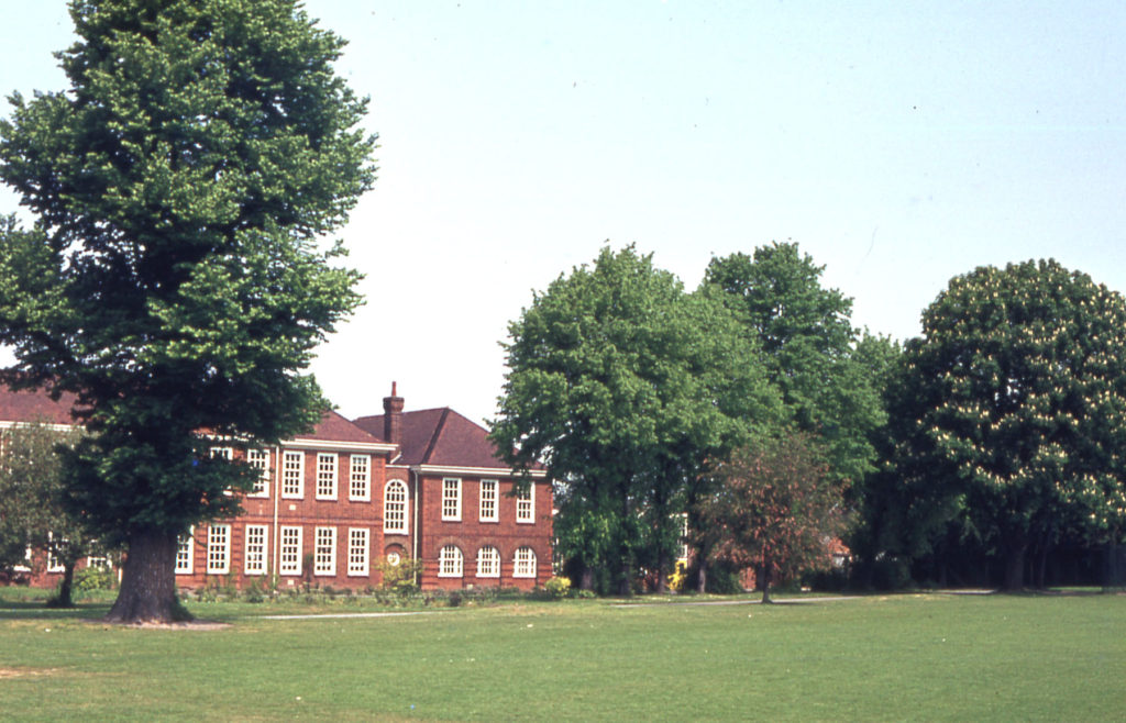 Cranmer Middle School, Cranmer Road, Mitcham, Surrey CR4. Much of the former gardens of the Cranmers house survives as school playing fields.