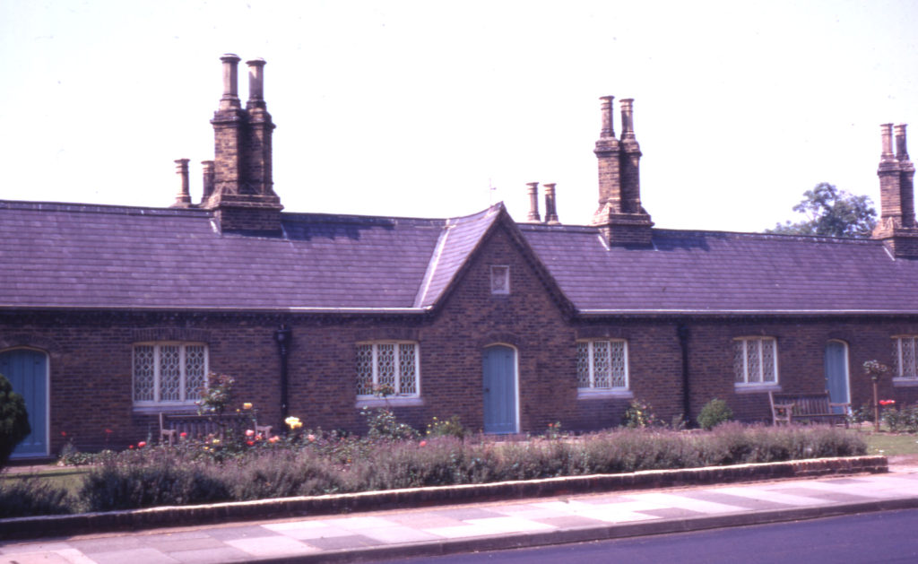 Tate Almshouses, 16-30 Cricket Green, Mitcham, Surrey CR4. Built 1829. founded by Miss Mary Tate. who donated the land.