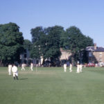 Cricket match on Lower Green, Mitcham, Surrey CR4. From the Clubhouse. looking east.
