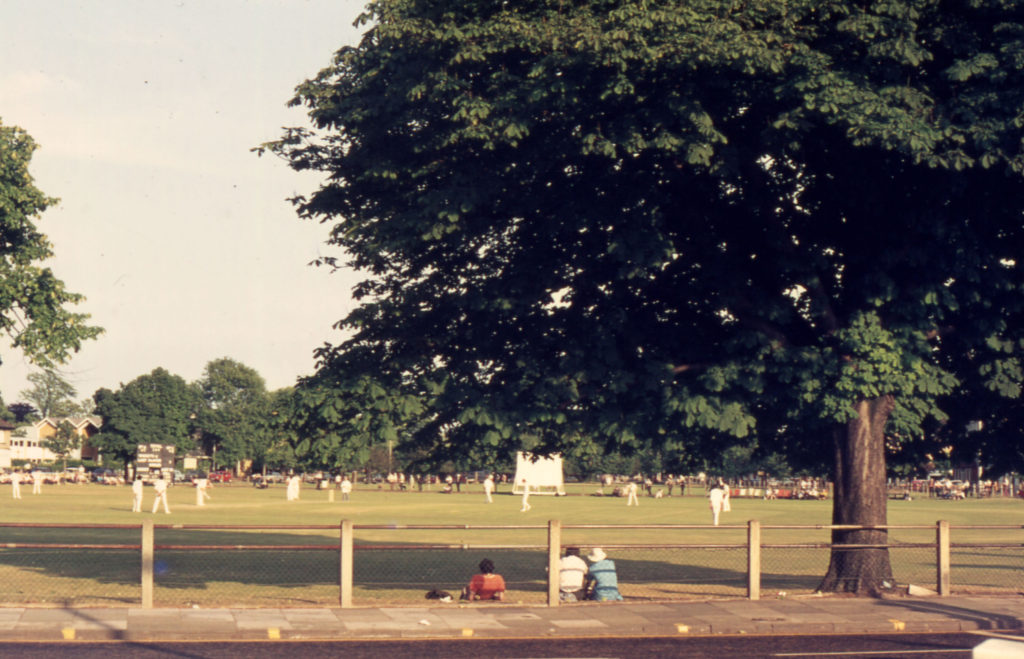Mitcham Cricket Green, Mitcham, Surrey CR4. Midsummer. taken from London Road. looking south-east.