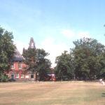 Cricket Green, Mitcham, Surrey CR4. Vestry Hall in background.