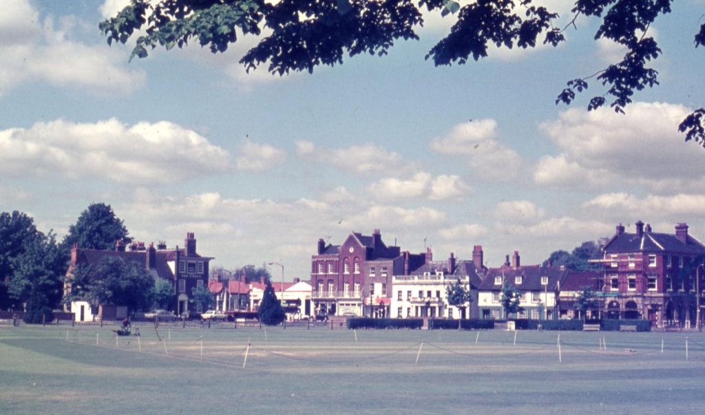 Cricket Green, Mitcham, Surrey CR4. Looking west towards Bank Corner.