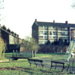 Wandle Park, Colliers Wood, London SW19. Marlborough Court behind.