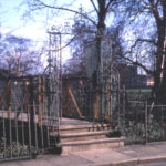 Gate and bridge to Wandle Park, Wandle Bank, Colliers Wood, London SW19. Leading to the site of Wandlebank House.