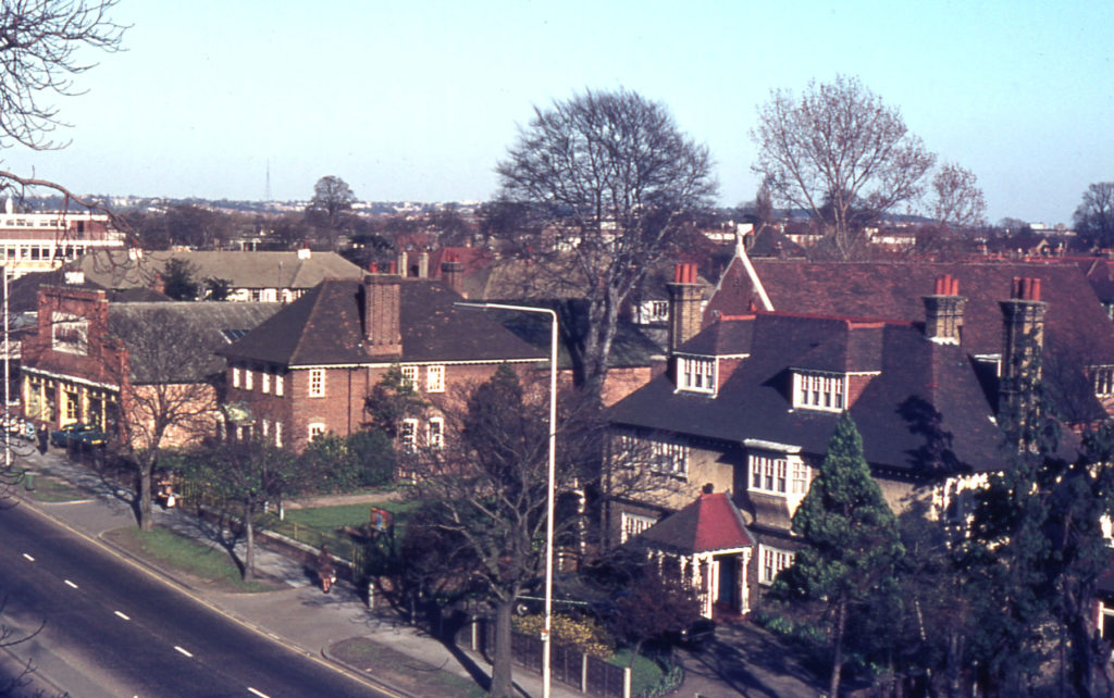 London Road (east side), Mitcham, Surrey CR4. Site of Mitcham Hall.