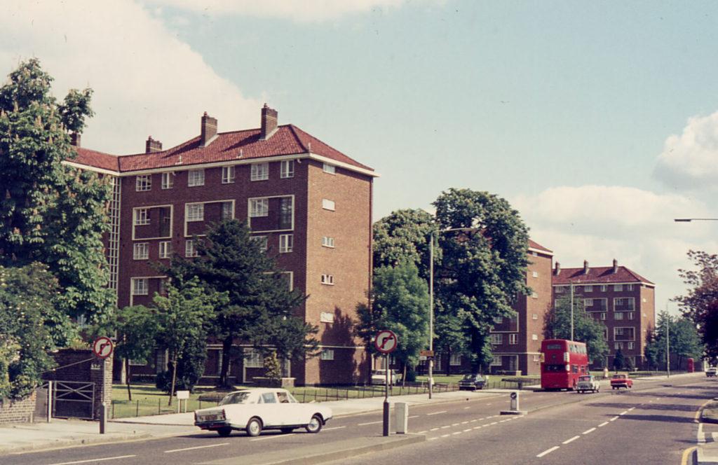 Gedge, Fenning, & Baron Courts, London Road, Mitcham, Surrey CR4. Looking north.