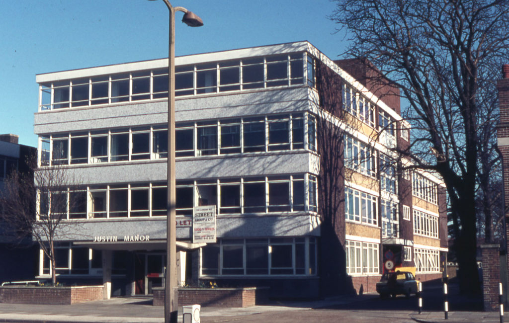 Justin Manor office block, London Road, Mitcham, Surrey CR4. Built 1970 on site of the Manor House. A third floor was added c. 1973.