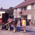 Horse-drawn baker's delivery van, Brookfields Ave, Mitcham, Surrey CR4. Typical 1930s housing in the Brookfields Estate. built on five acres of meadow land once belonging to Wandle Grove.