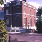Wandle House from the N. W., 10 Riverside Drive, Mitcham, Surrey CR4. The modern extension (left) to the 18th century building was built by the owners Howard Ltd. owners since 1937. They ceased trading in 1969.