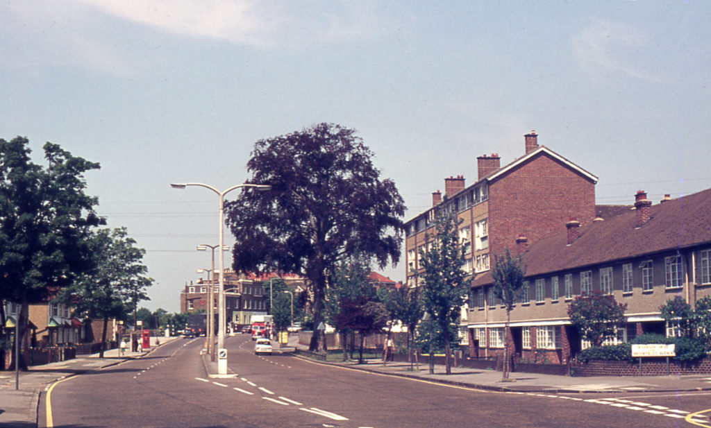 London Road, Mitcham, Surrey CR4. Beeches House (right) was built in the 1960s on the site of the former brewery (later Lactagol works). The roadside copper beech (in the gardens of the works) was was felled in 1975.