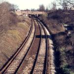 Wimbledon-Croydon Railway, Mitcham Common, Mitcham, Surrey CR4. From Willow Lane bridge.