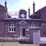 James Pascall's Factory, London Road, Mitcham, Surrey CR4. Clock and front door.