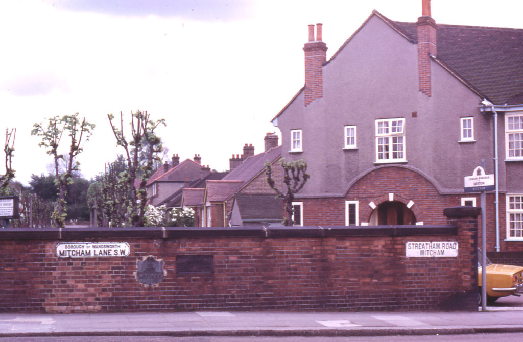 Streatham Road/Mitcham Lane, London SW17. Roe Bridge : Parish Boundary. First bridge put up by Merchant Taylors Co. after Thomas Roe. Master in 1553. escaped drowning when crossing river. He was Lord Mayor of London in 1568.