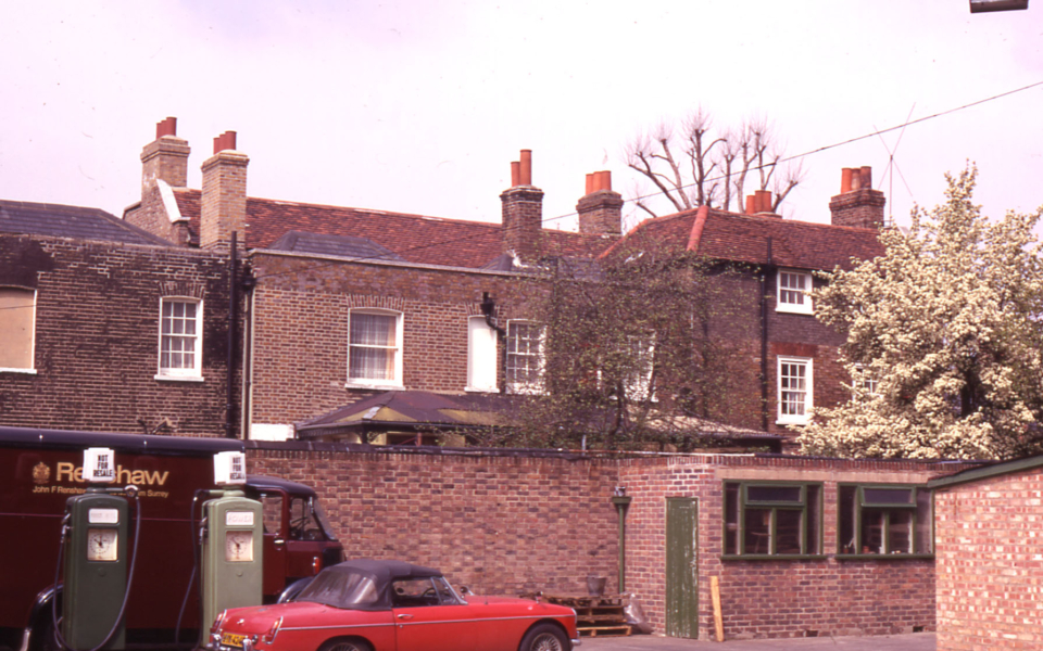 Rear of Georgian Houses at Renshaws Corner, Streatham Road, Mitcham, Surrey CR4.