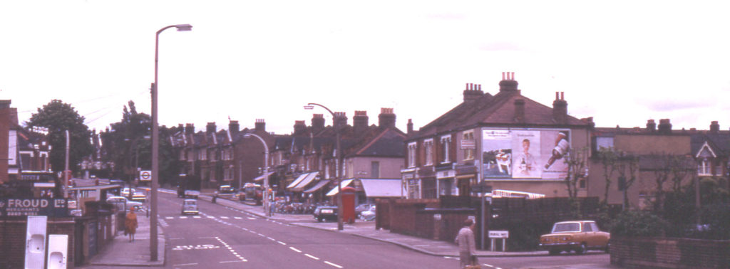 Streatham Road, Roe Bridge & Parish Boundary, London SW16. Looking North. Rural Way on right.