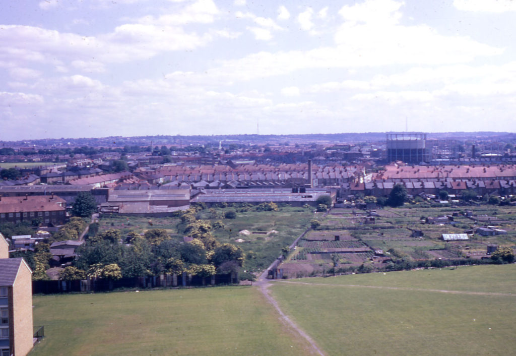 View east from Ottershaw House (Phipps Bridge Estate), Mitcham, Surrey CR4. Showing Short Batchwork allotment.