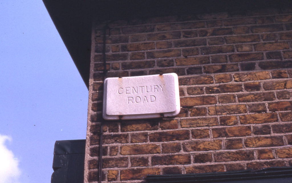 Original street name tablet in Century Road, Mitcham, Surrey CR4.